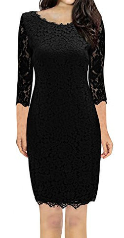 Women's 3/4 Sleeve Full Zip Back Short Lace Cocktail Dress - Fashion | Jewelry | Watches