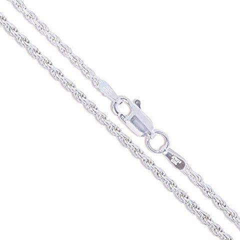 Sterling Silver Diamond-Cut Rope Chain  1.5mm Solid 925 Italy New Necklace - Fashion | Jewelry | Watches