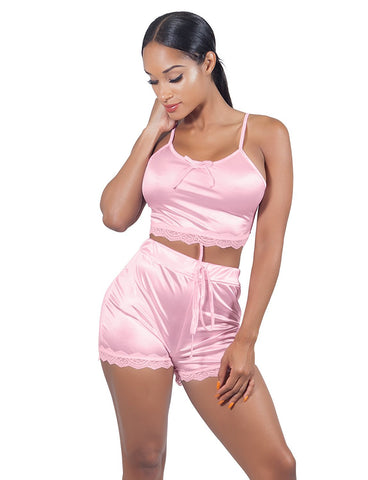 Women Sleeveless Lace Crop Top Camisole and Shorts Pajamas Sleepwear Set - Fashion | Jewelry | Watches
