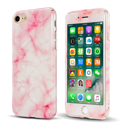 iPhone 7, 8, Plus  Full Body Shockproof Marble Hard Case +Tempered Glass Cover