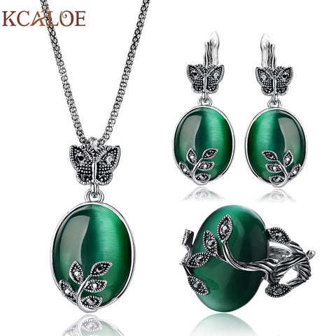 Natural Stone Green Opal Jewelry Sets - Leaf Pendant Necklace, Earrings & Ring Set - Fashion | Jewelry | Watches