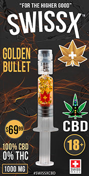 CBD OIL 1 GRAM SYRINGE - SWISSX GOLDEN BULLET HIGH POTENCY WITH GOLD FLAKES FROM SWITZERLAND 1000 MG