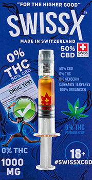 CBD OIL 1 GRAM - SWISSX CBD FOR ATHLETES BLENDED WITH CRYSTALLINE FLAVOURS OF OG SKYWALKER - CBD OIL IN SYRINGE 10 GRAMS ZERO THC 0% THC 50% CBD