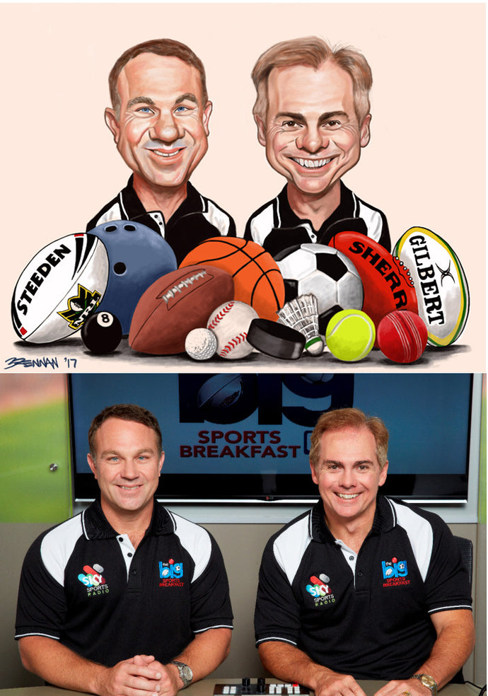 Big Sports Breakfast Radio Team caricature