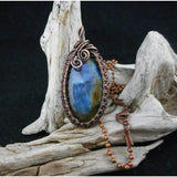 Labradorite Copper Wire Wrapped Pendant with Copper Ball chain-Blue Labradorite pendant