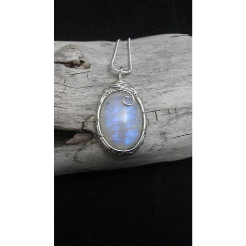 Sterling Silver Wire Wrapped Rainbow Moonstone Necklace