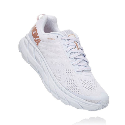 Hoka Women's Clifton 5 (WHITE / ROSE GOLD)