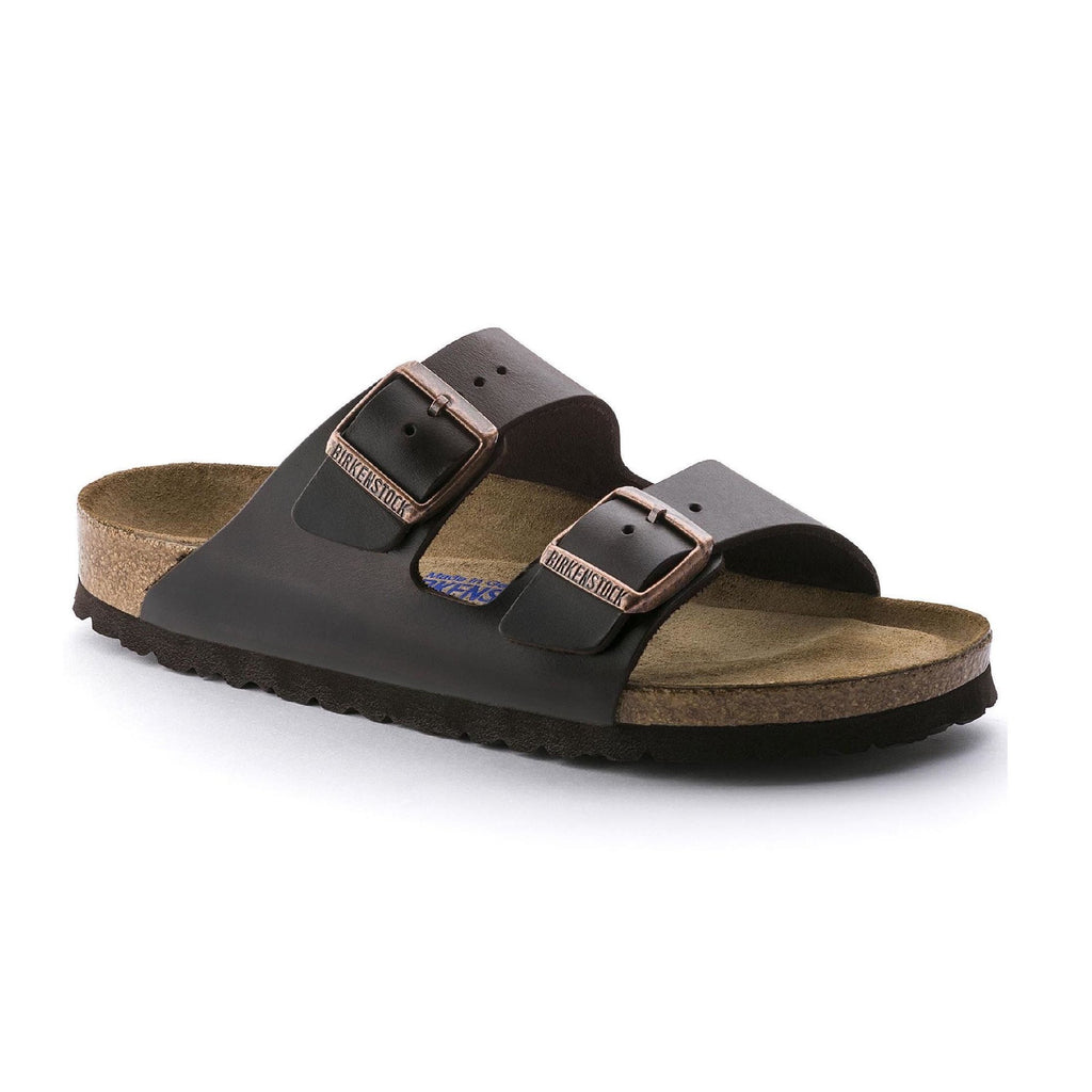 Birkenstock Arizona Soft Footbed Amalfi Leather (Narrow Width - Brown)