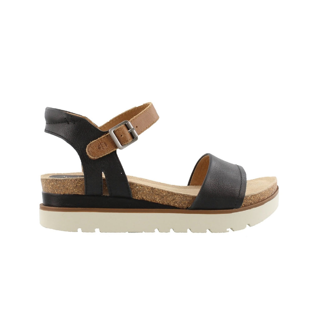Platform sandal with black leather straps.