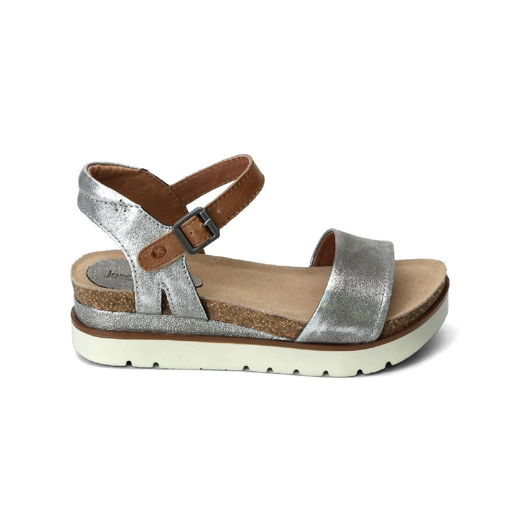 Platform sandal with platinum leather straps.