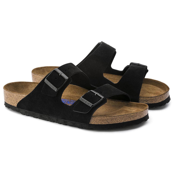 Birkenstock Arizona Suede Leather (Black-Narrow)