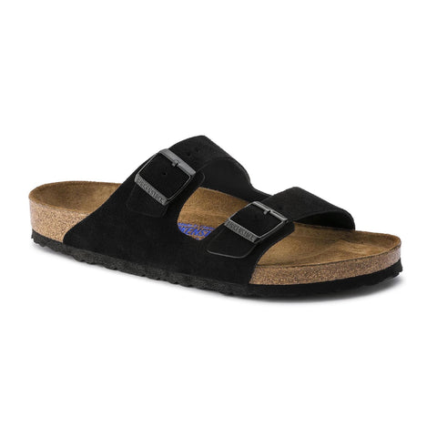 Birkenstock Arizona Soft Footbed Suede Leather (Black-Narrow)