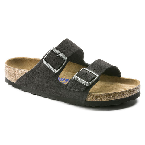 Birkenstock Arizona with soft footbed and suede leather upper. Color is velvet grey.