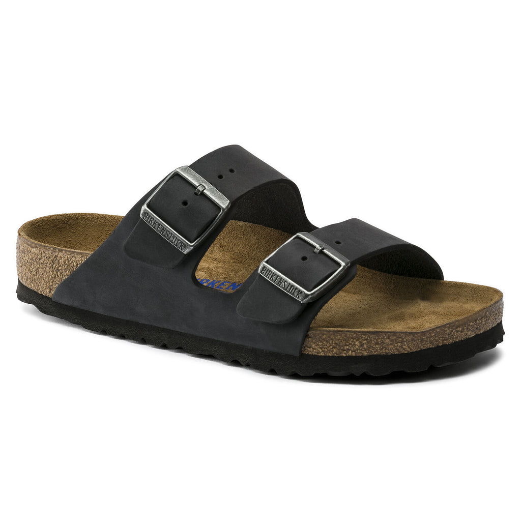 Birkenstock Arizona with soft footbed and oiled leather upper. Color is black.