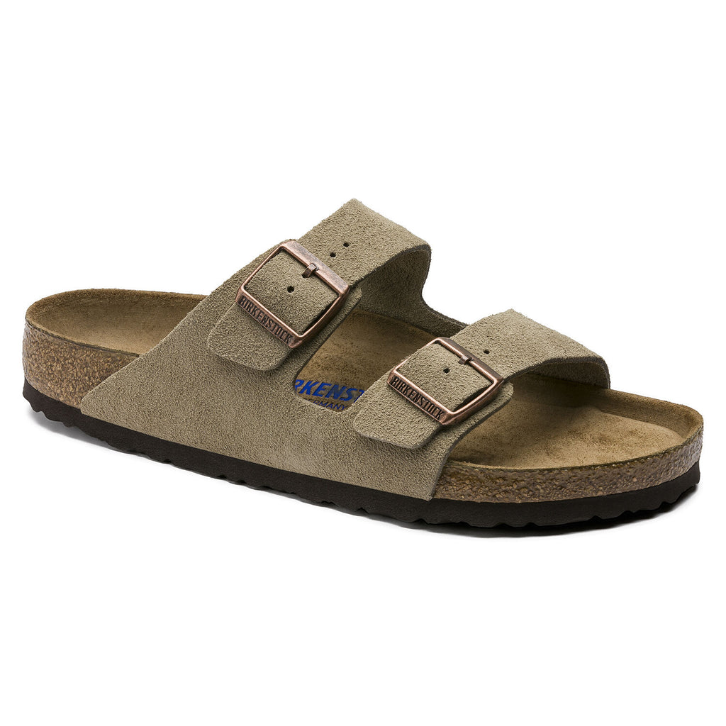 Birkenstock Arizona with soft footbed and suede leather upper. Color is taupe.