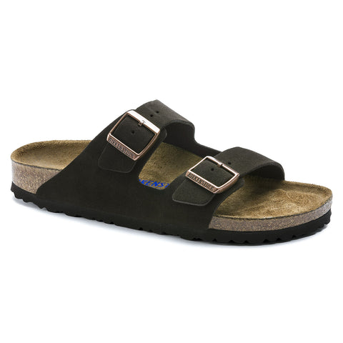Birkenstock Arizona with soft footbed and suede leather upper. Color is mocha..