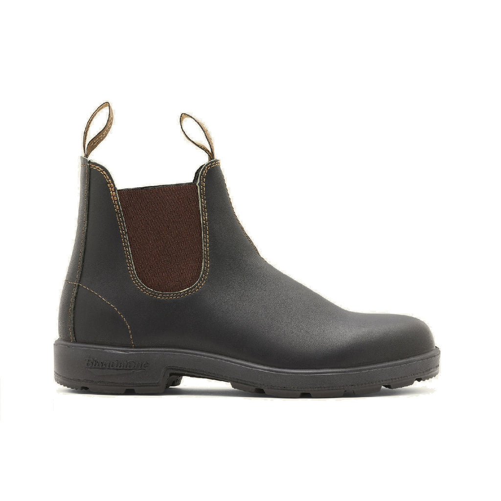 Stout brown leather chelsea boot.