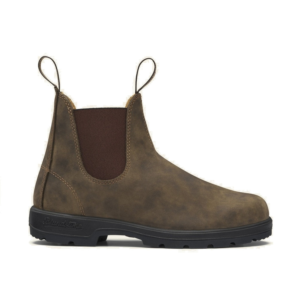 Rustic brown leather chelsea boot.