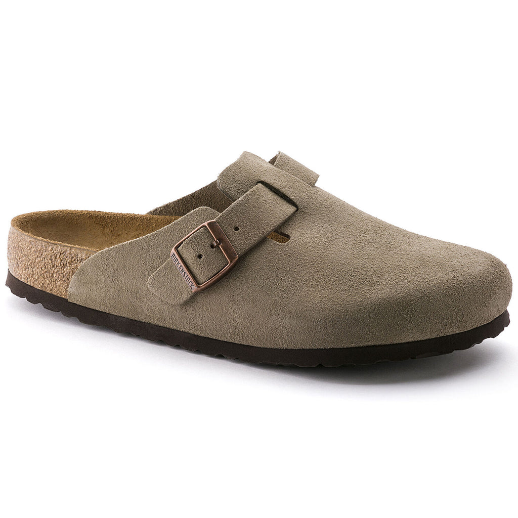 Birkenstock Boston closed two slipper with soft footbed and suede upper. Color is taupe.