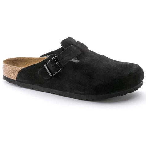 Birkenstock Boston closed two slipper with soft footbed and suede upper. Color is black.