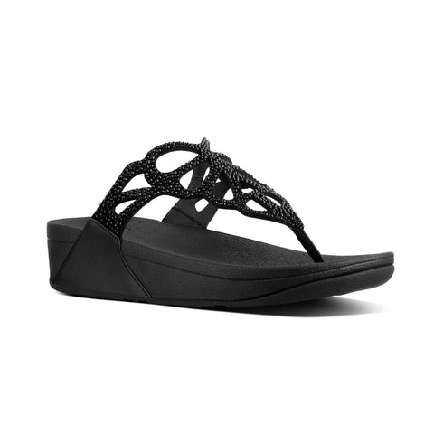 Fitflop BUMBLE™ Crystal Toe-Thong Sandals (Black)