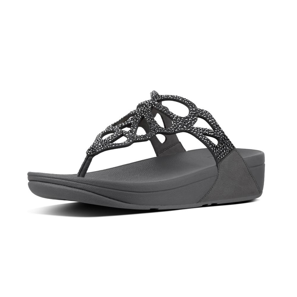 Fitflop BUMBLE™ Crystal Toe-Thong Sandals (Pewter)