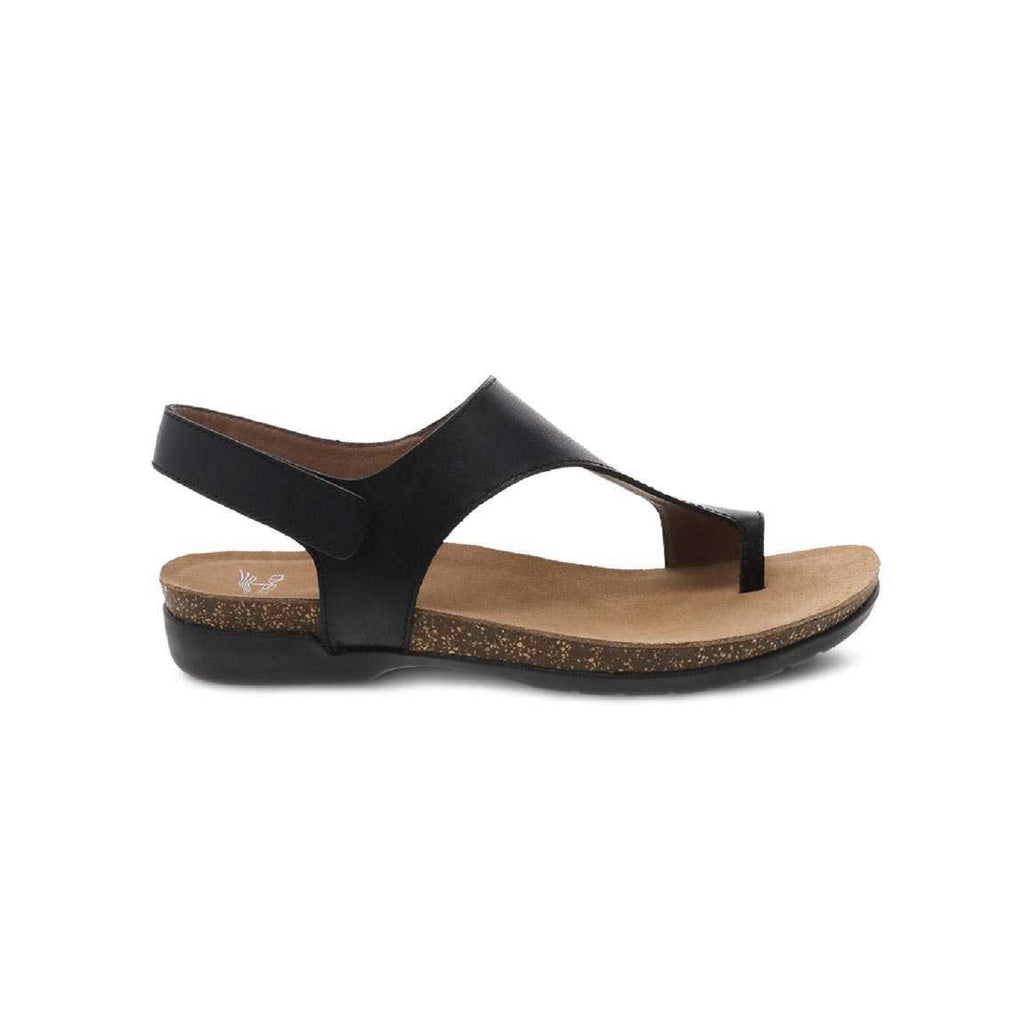 Black leather thong sandal with velcro back strap.