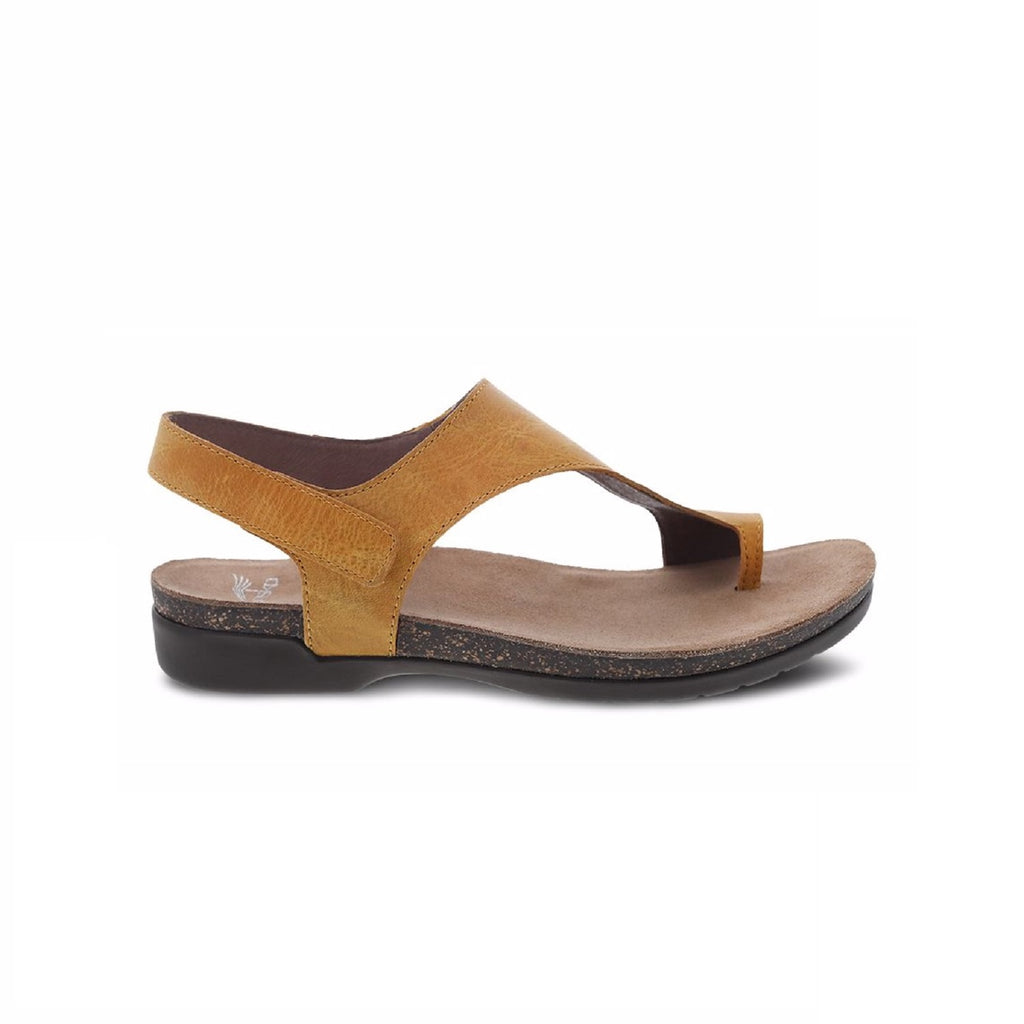 Mango leather thong sandal with velcro back strap.