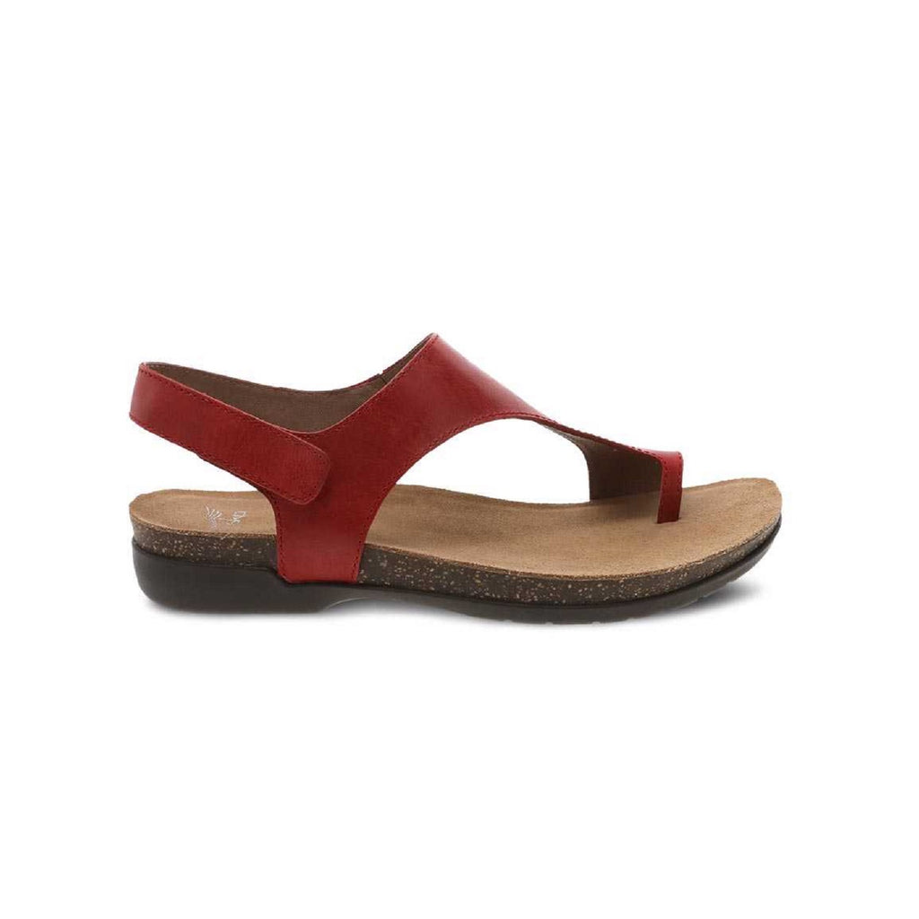 Red thong sandal with velcro back strap.