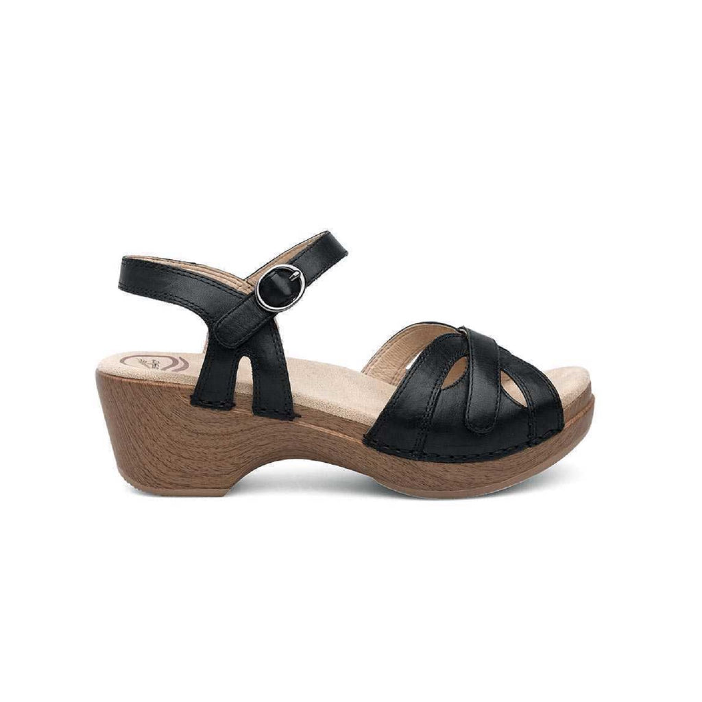 Platform sandal in black with adjustable velcro straps.