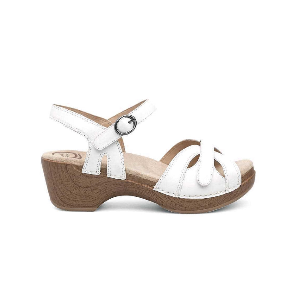 Platform sandal in white with adjustable velcro straps.