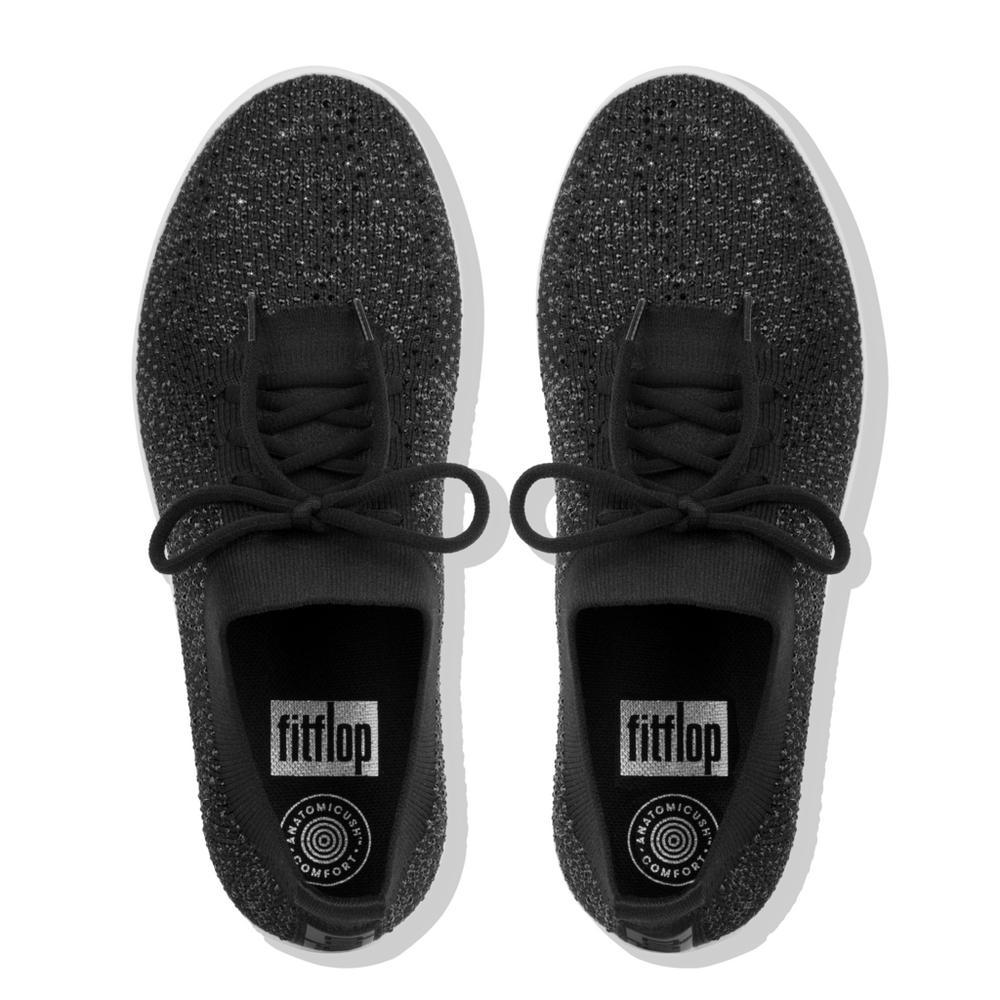 Fitflop F-SPORTY UBERKNIT™ Crystal Sneakers (Black)