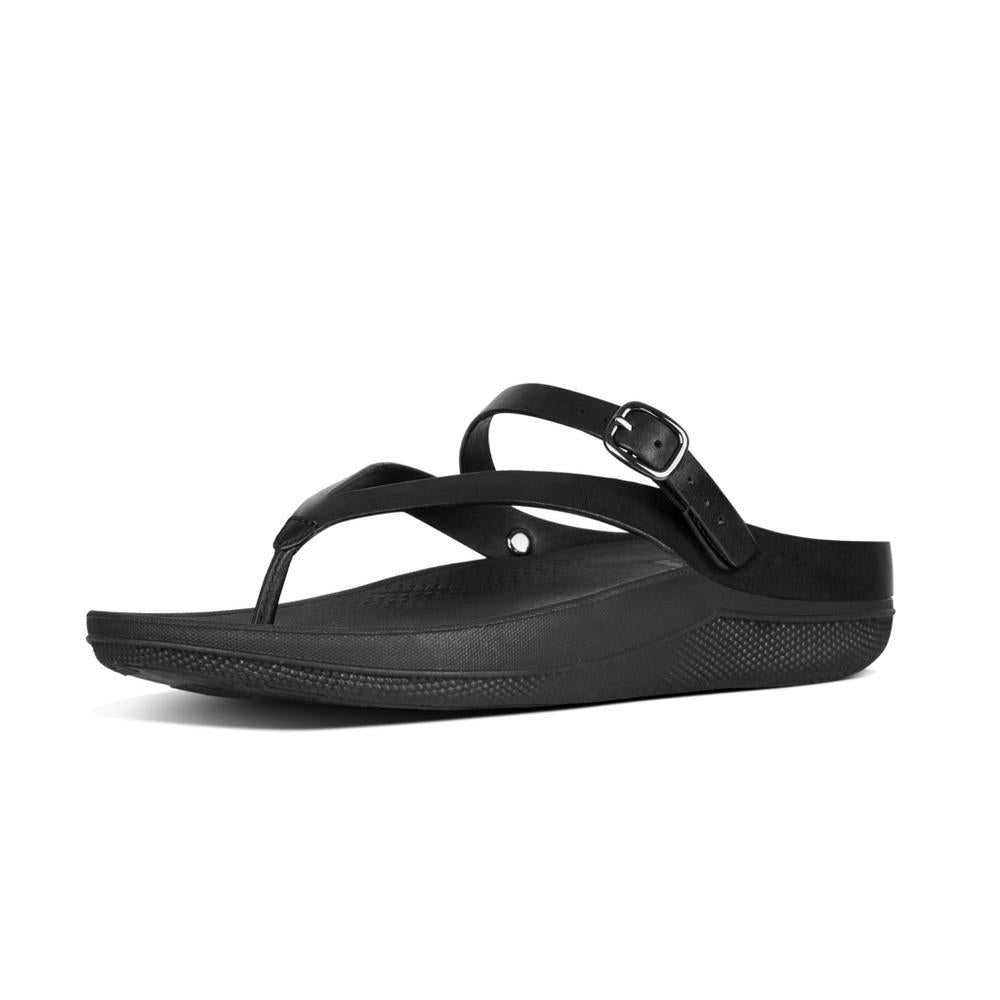 Fitflop FLIP™ Leather Sandals With Back Strap (Black)