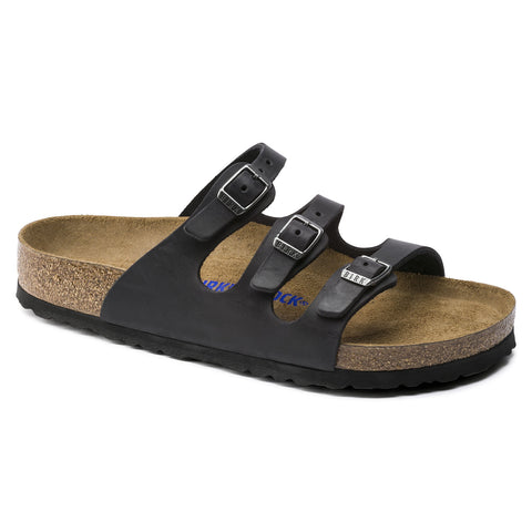 Birkenstock Florida, three strap sandal, with soft footbed and oiled leather. Color is Black.