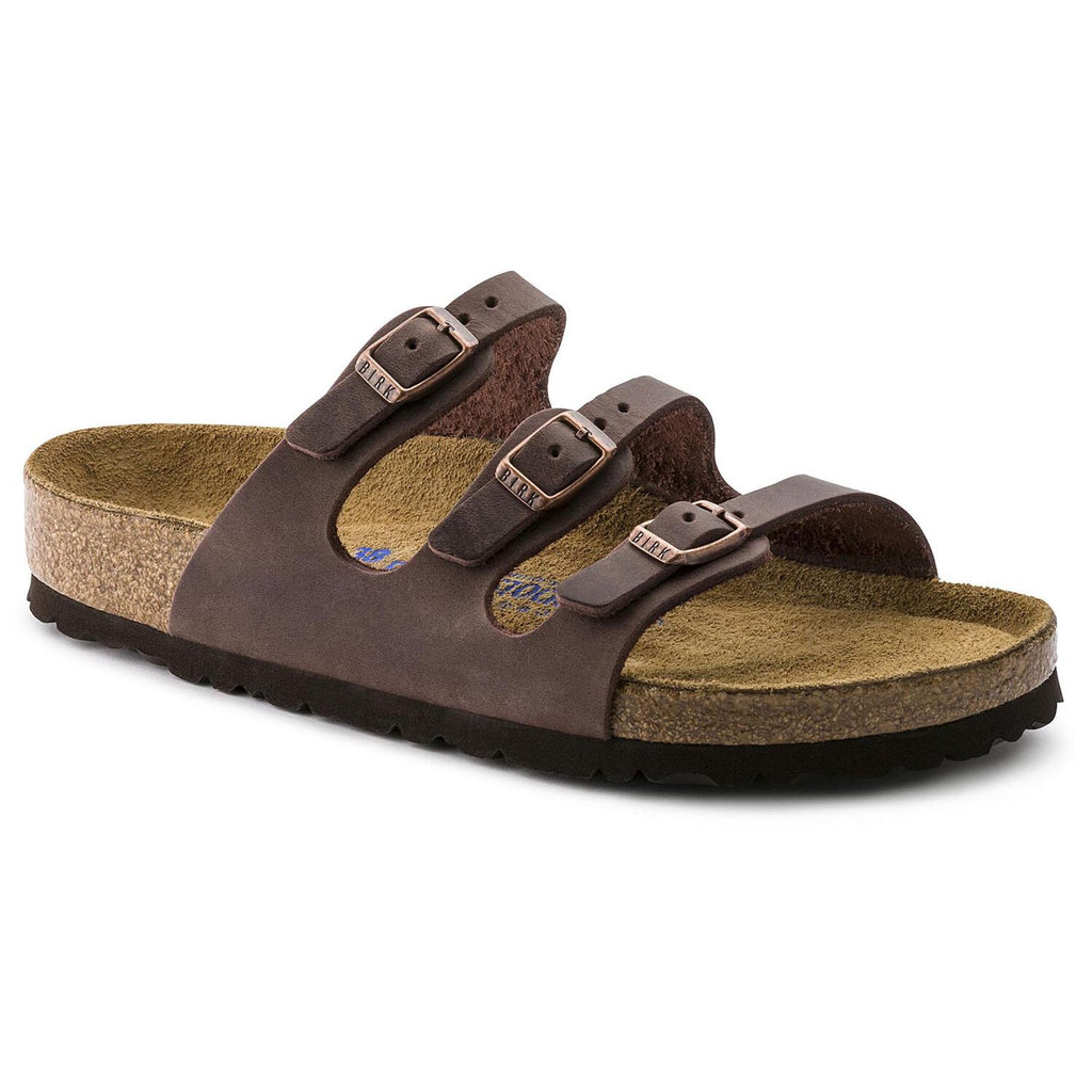 Birkenstock Florida, three strap sandal, with soft footbed and oiled leather. Color is Habana.