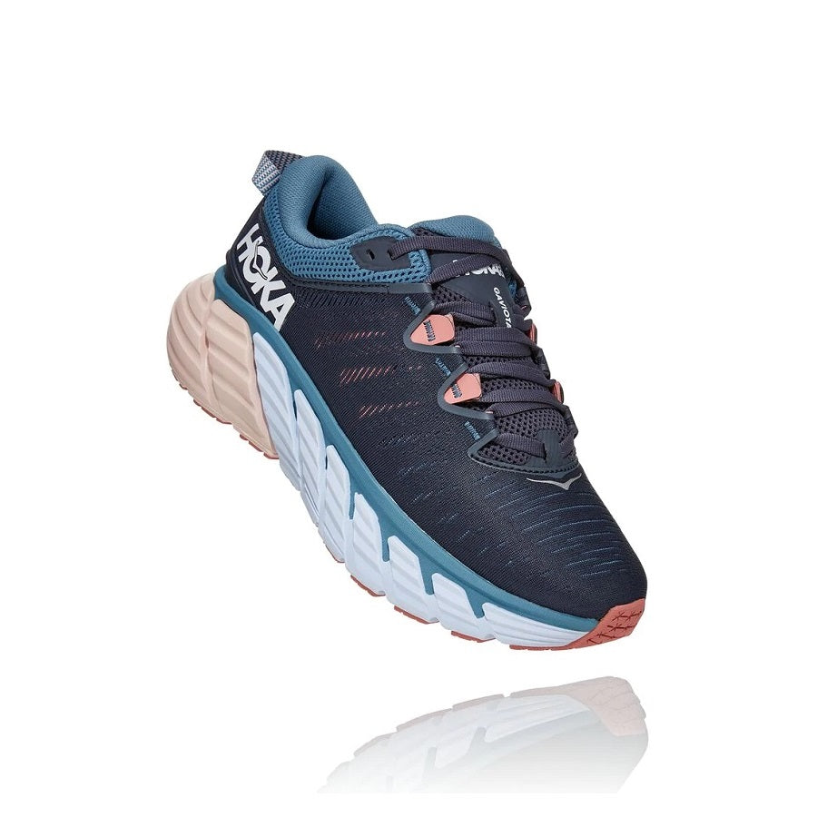 Women's lace up running shoe in blue and white.