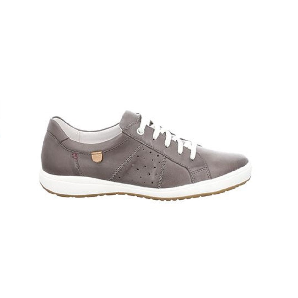 Leather sneaker in grey with white trim.