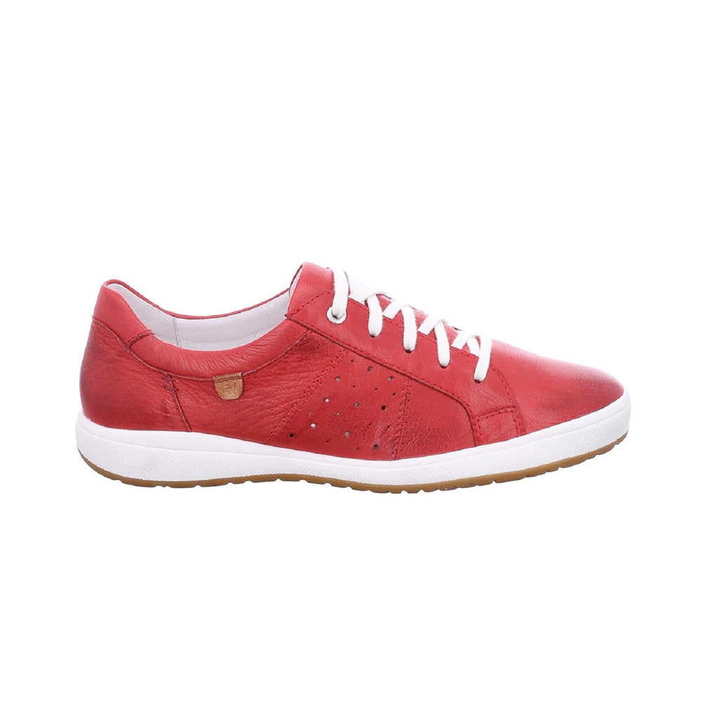 Leather sneaker in red with white trim.