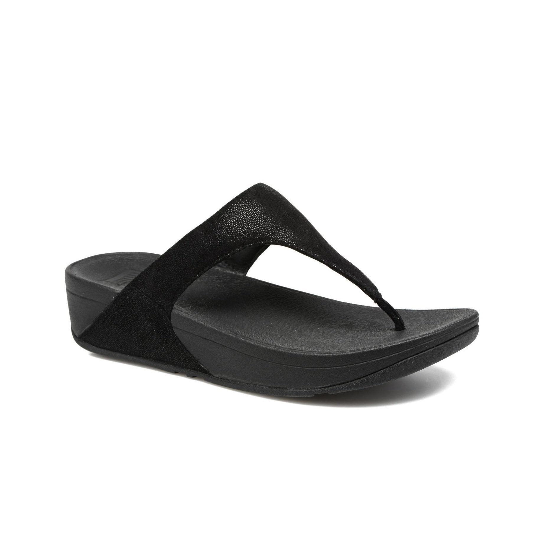 7479c5665b2 Fitflop SHIMMY™ Suede Toe Thong Sandals (Black Glimmer) – EH Shoes