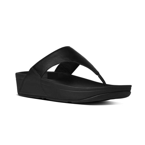 Fitflop LULU™ Leather Toe-Thong Sandals (Black)