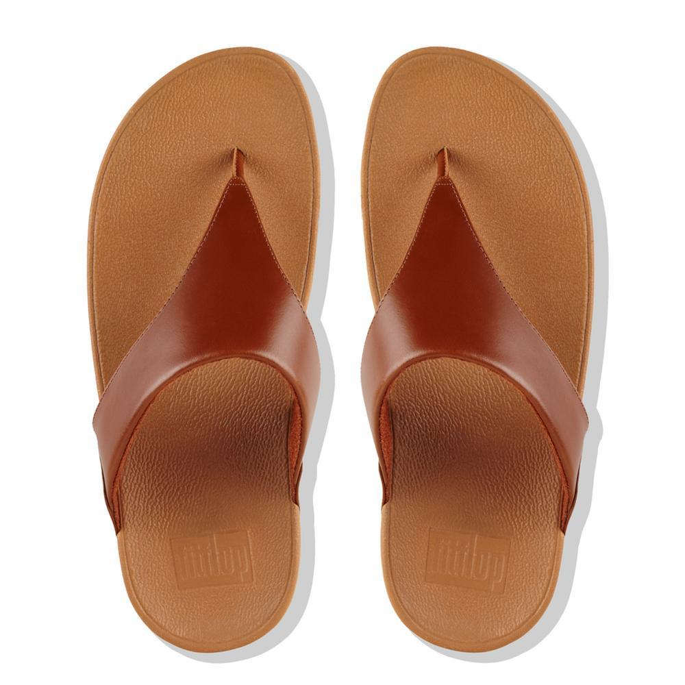 Fitflop LULU™ Leather Toe-Thong Sandals (Cognac)