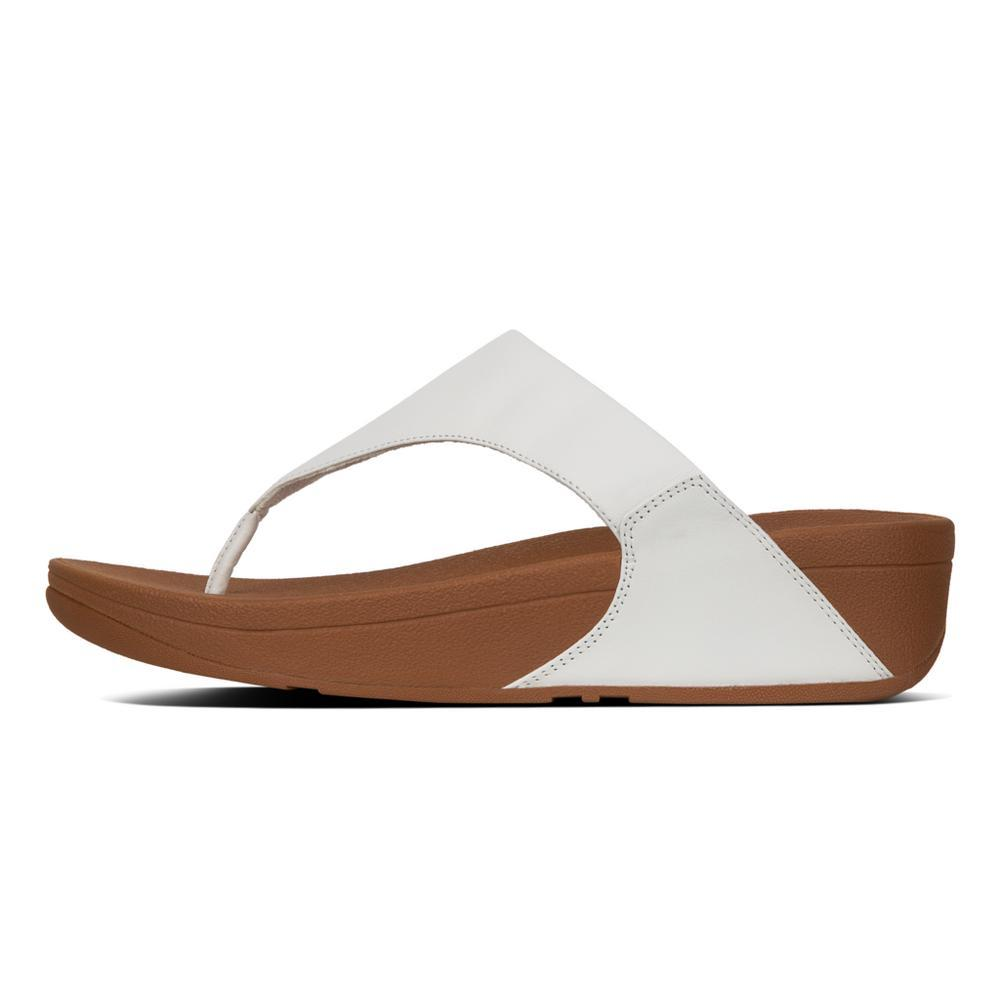 Fitflop LULU™ Leather Toe-Thong Sandals (White)