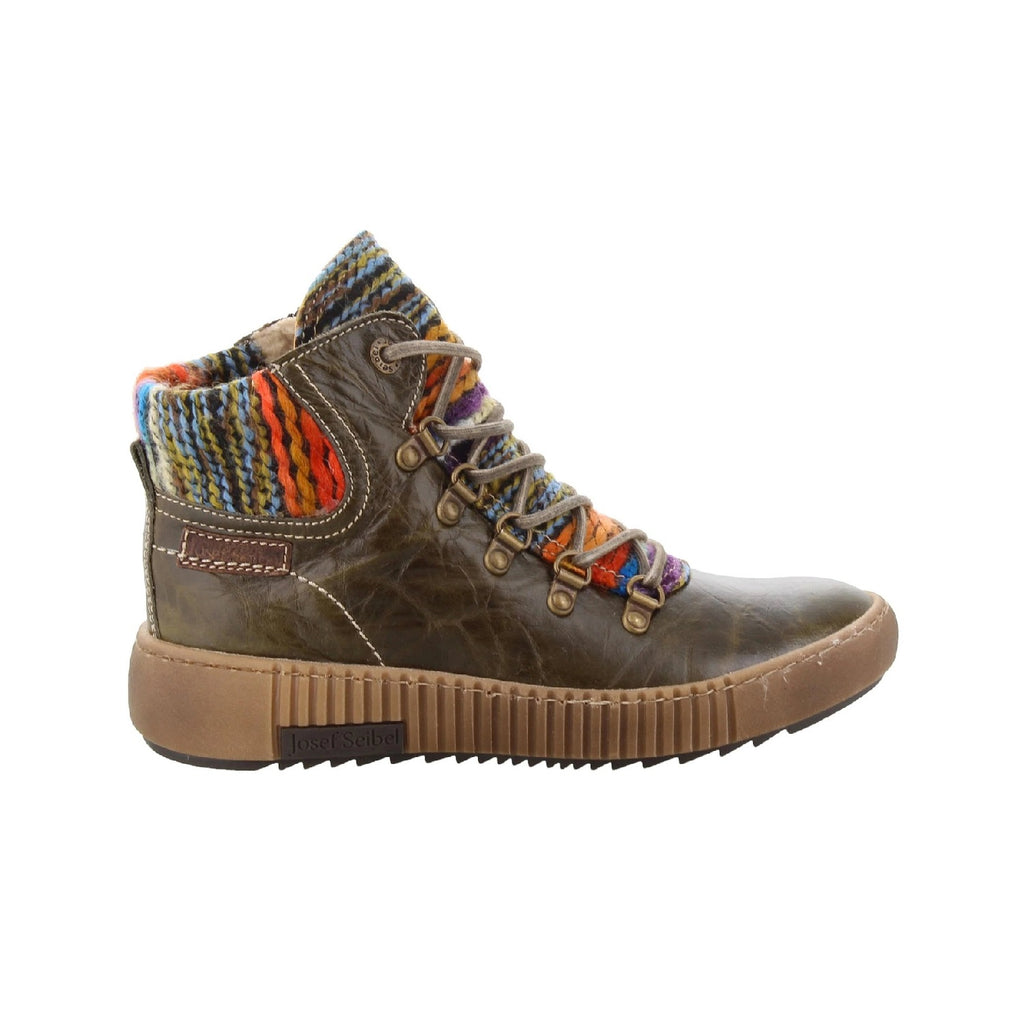 Leather short boot with multi color knit design.