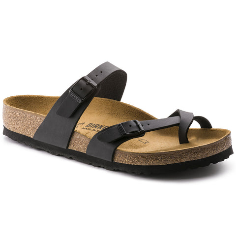 Birkenstock Mayari sandal with birk-flor straps in black.