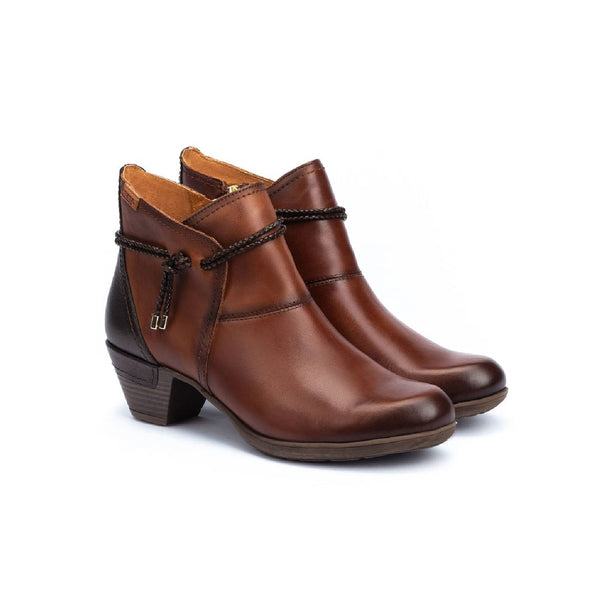 Cuero brown ankle boot with rope detailing on the ankle.