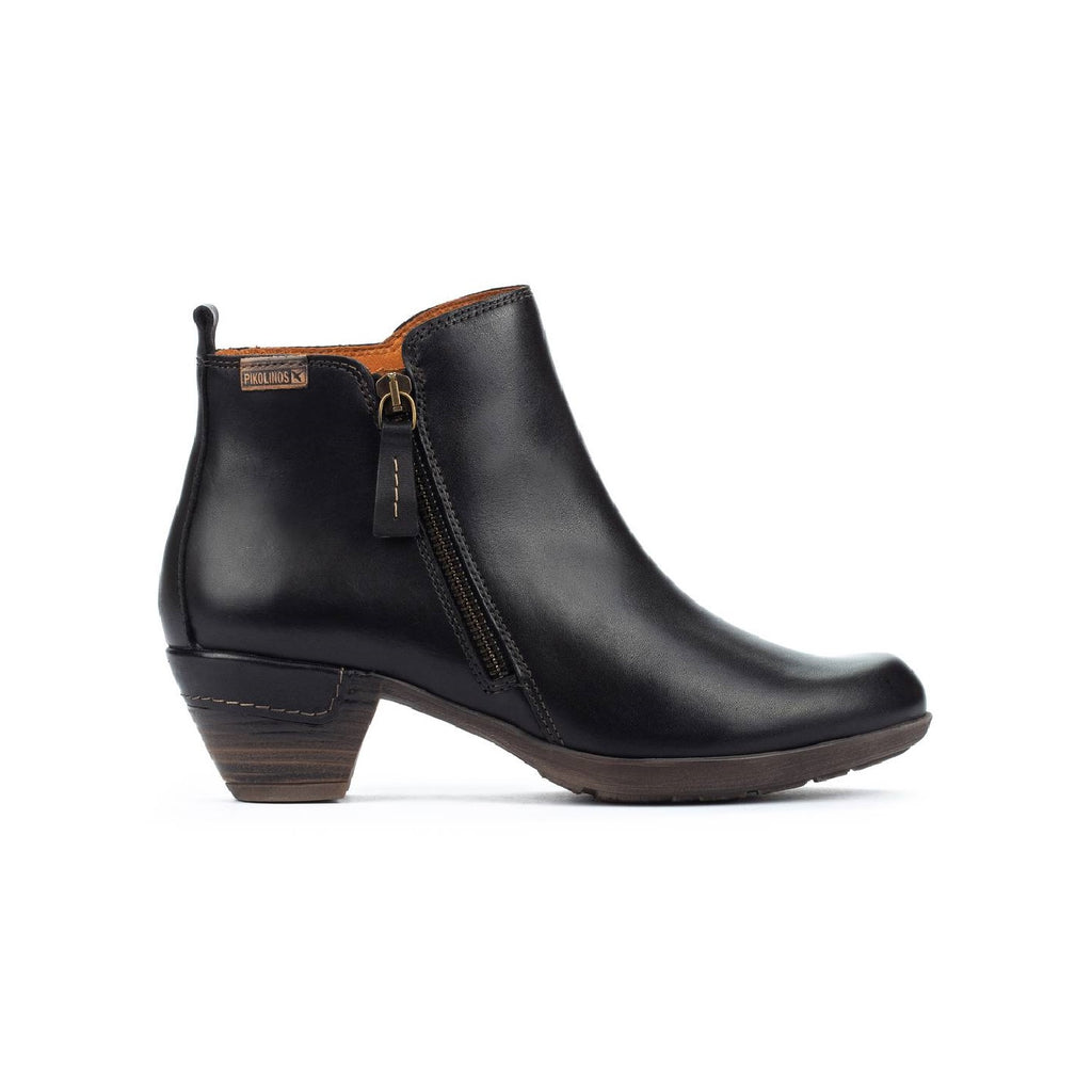 Black leather ankle boot with zipper on the side.