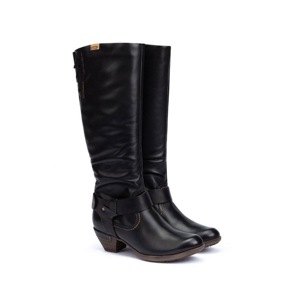 Tall black leather boot with lace detail on the back.
