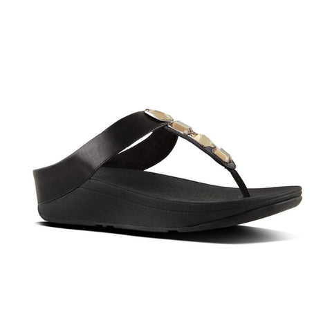 Fitflop ROKA™ Leather Toe-Thong Sandals (Black)