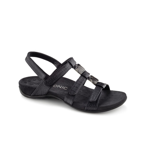 Amber Adjustable Sandal (Black Croc)