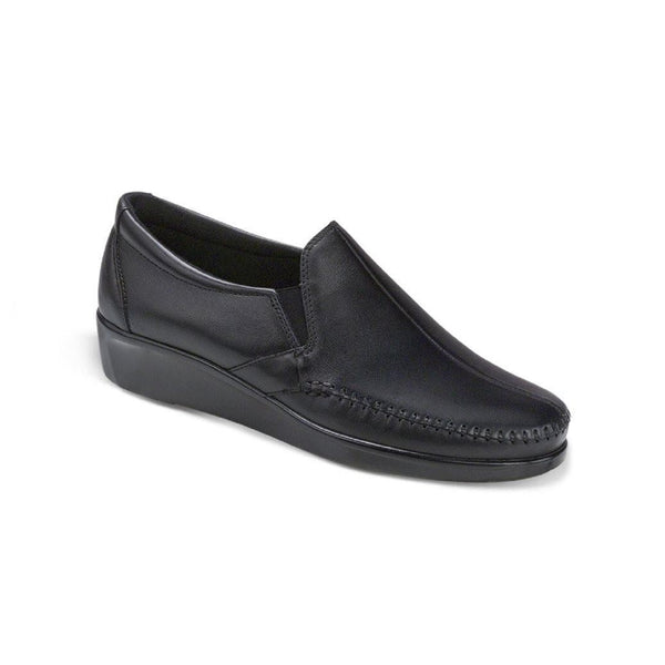 Women's slip on moccasin style shoe.